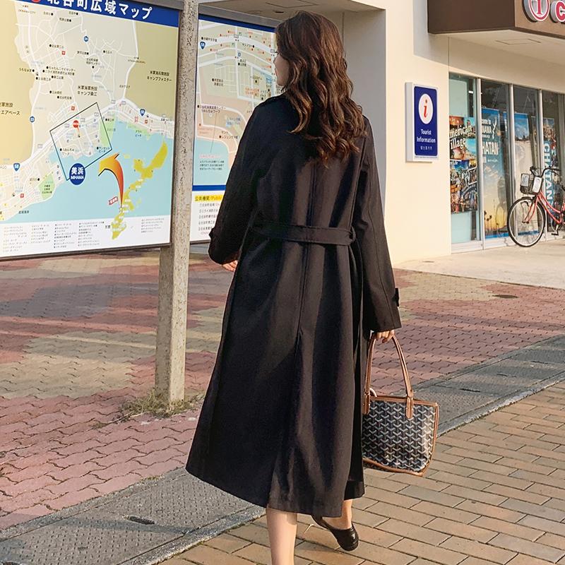 女士风衣 秋季外套女2020新款百搭中长款春装韩版宽松女士大衣过膝休闲风衣_推荐淘宝好看的女士风衣