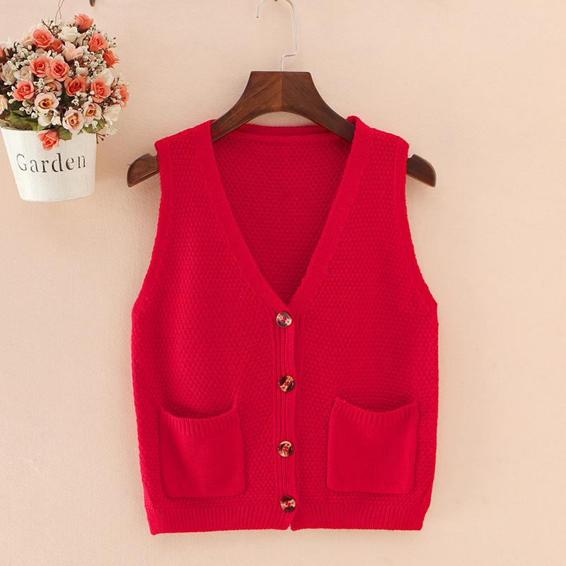 红色背心 女士马甲秋冬季短款毛衣背心针织外搭外套开衫外穿坎肩女式小马夹_推荐淘宝好看的红色背心