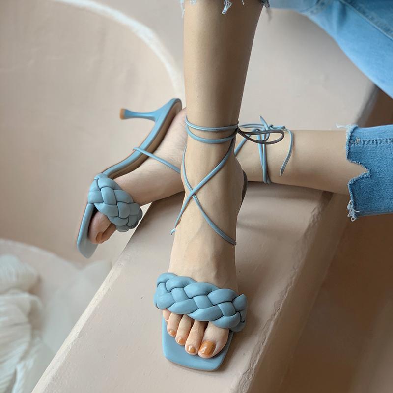 绿色罗马鞋 蓝色拖鞋凉鞋两穿女夏高跟编织细跟绑带一字露趾仙女性感罗马绿色_推荐淘宝好看的绿色罗马鞋