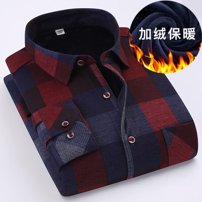 男士衬衫 冬季保暖格子衬衫男长袖商务休闲青中年爸爸装一体绒加厚加绒衬衣_推荐淘宝好看的男衬衫