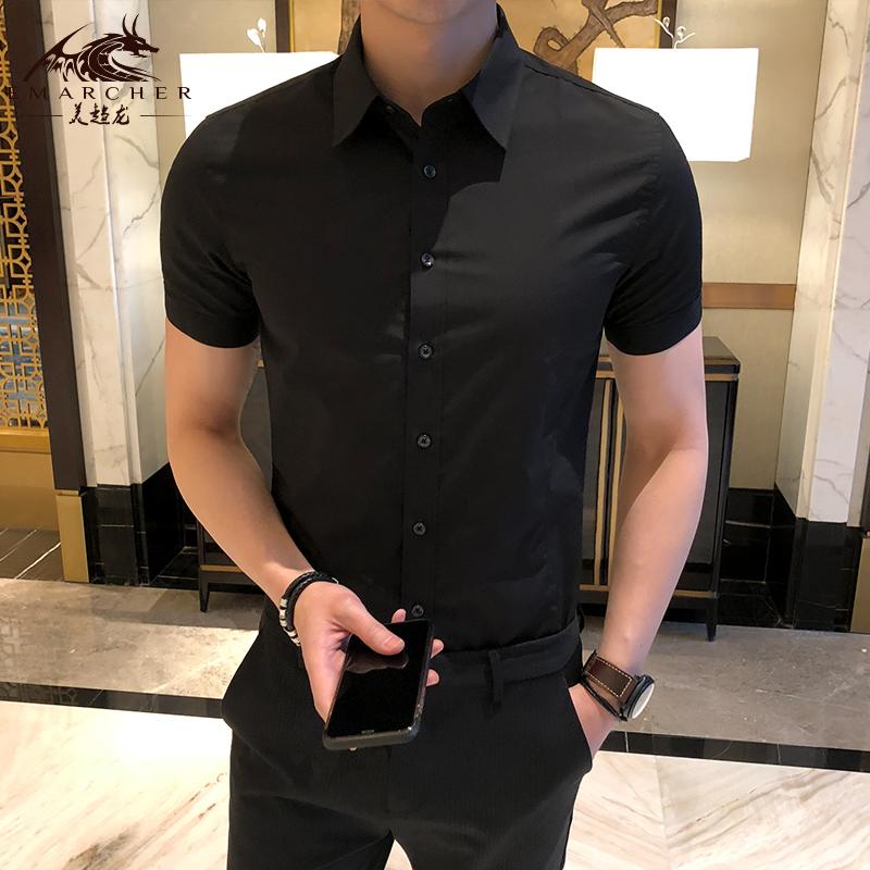 黑色衬衫 夏季男士短袖衬衫修身黑色衬衣商务休闲职业正装工作服上班寸衣男_推荐淘宝好看的黑色衬衫