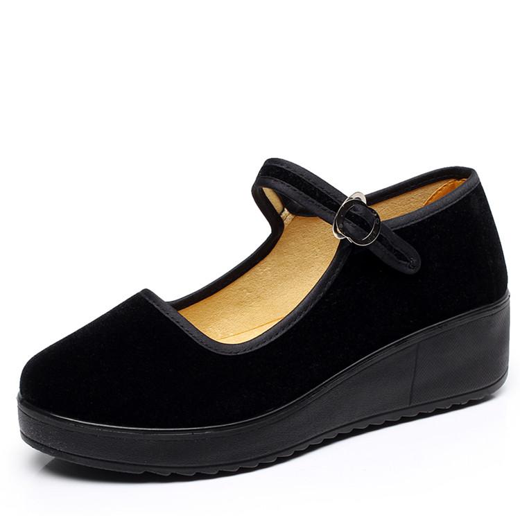 黑色坡跟鞋 松糕底厚底坡跟工作鞋女老北京布鞋女鞋黑色酒店服务员布鞋舞蹈鞋_推荐淘宝好看的黑色坡跟鞋