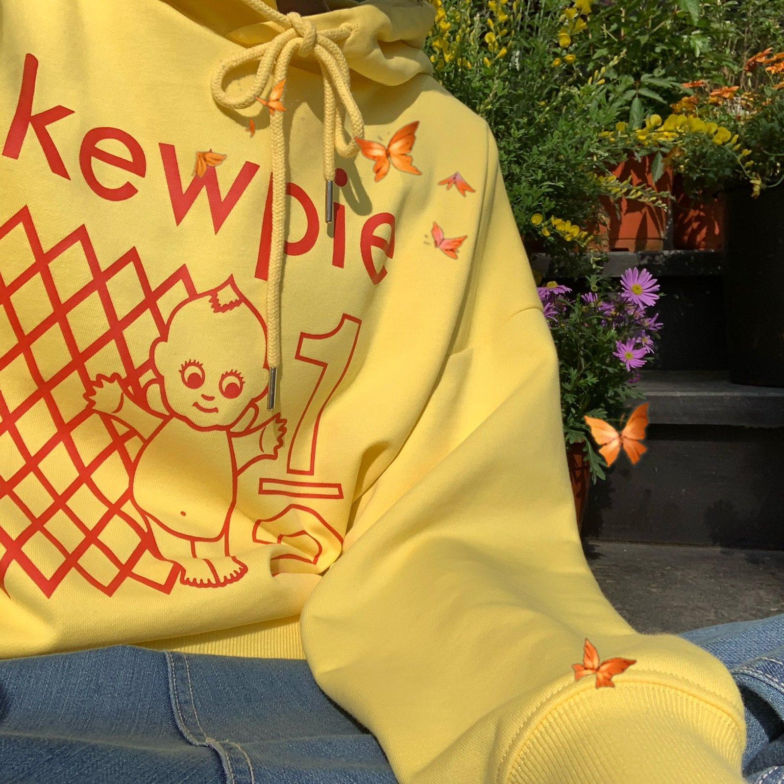 黄色卫衣 will come 自制奶黄色连帽卫衣女宽松古着圆领2021春冬柔软加绒_推荐淘宝好看的黄色卫衣