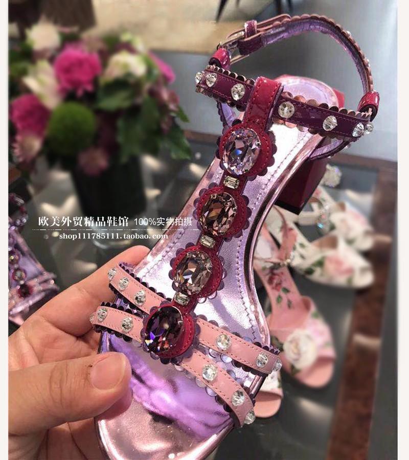 紫色鱼嘴鞋 2019夏季新品紫色粗跟水钻真皮凉鞋10CM超高跟一字带露趾凉鞋女鞋_推荐淘宝好看的紫色鱼嘴鞋