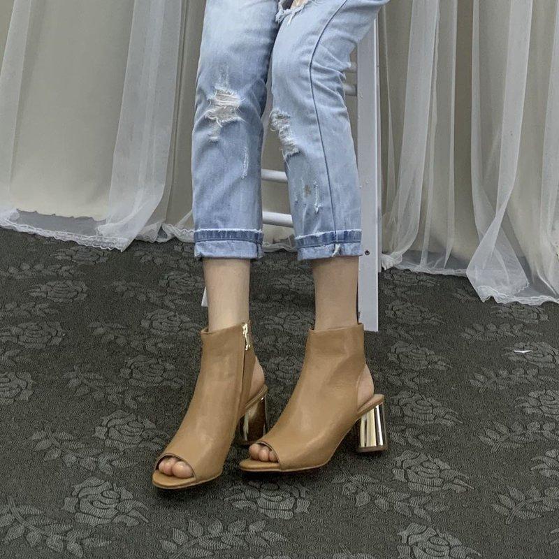 罗马高跟鞋 外贸原单女鞋露趾夏季罗马鞋真皮鱼嘴后空高跟粗跟时尚简约凉鞋女_推荐淘宝好看的女罗马高跟鞋