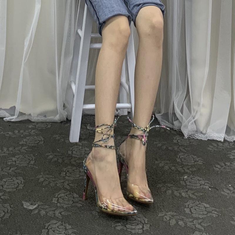 罗马高跟鞋 外贸原单女鞋超细跟包头透明罗马鞋高跟向后交叉绑带夏季潮流_推荐淘宝好看的女罗马高跟鞋