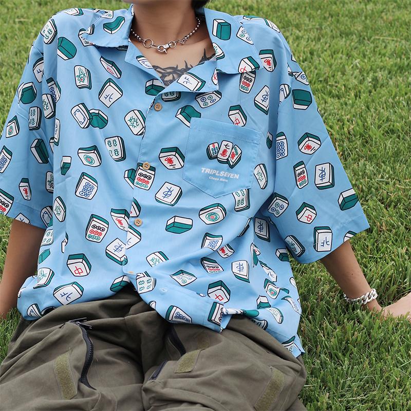 男士休闲衬衫 TRIPLESEVEN2021夏季新款港风短袖麻将印花衬衫男潮宽松休闲衬衣_推荐淘宝好看的男休闲衬衫