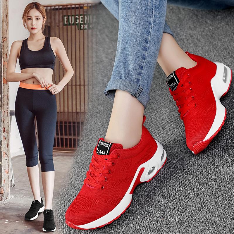 耐克运动鞋新款 恩施耐克正品牌本命年鞋子女红色女鞋运动休闲鞋2020新款女装网面_推荐淘宝好看的女耐克运动鞋新款