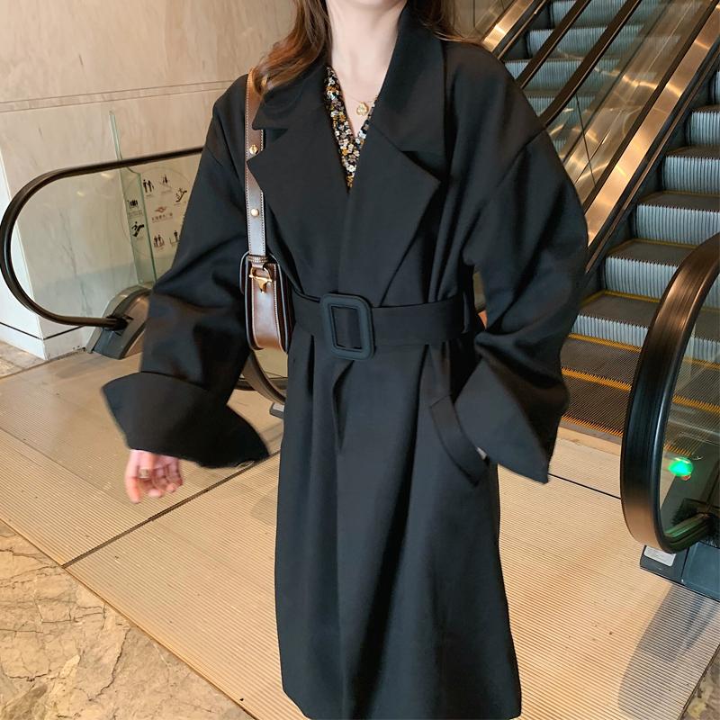 黑色风衣 秋冬季品牌风衣女中长款小个子赫本黑色西装毛呢外套大衣韩版加厚_推荐淘宝好看的黑色风衣