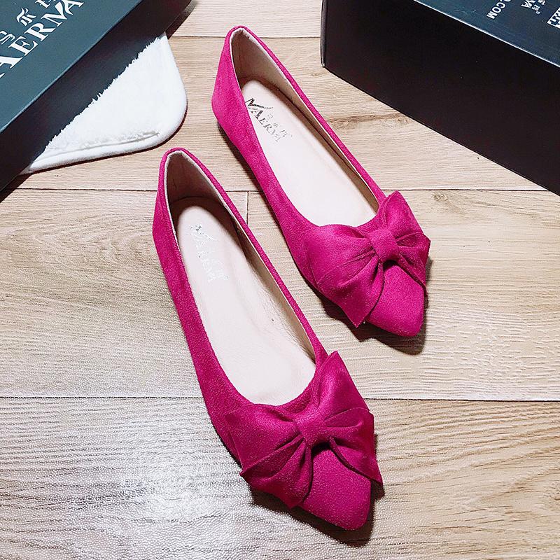 紫色豆豆鞋 平底女鞋单鞋豆豆鞋红色鞋女尖头紫色红鞋鞋子玫红色单跟鞋女士红_推荐淘宝好看的紫色豆豆鞋