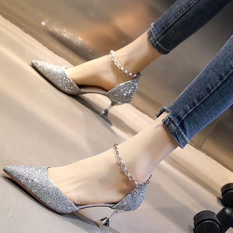 尖头鞋 41仙女高跟鞋细跟2020春夏新款时尚百搭一字带尖头银色伴娘单鞋女_推荐淘宝好看的女尖头鞋