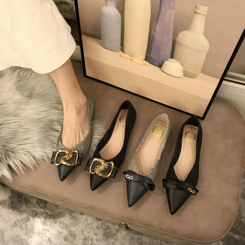 尖头鞋 21小香风单鞋女2021春新款网红百搭软底黑色尖头浅口水钻平底鞋_推荐淘宝好看的女尖头鞋