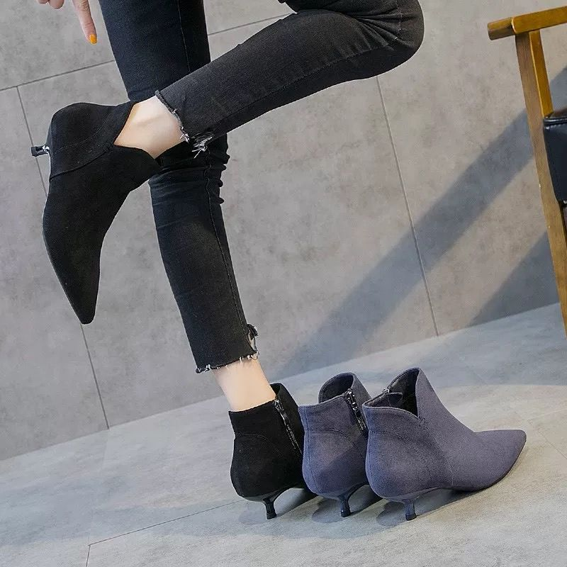 新款高跟鞋 高跟短靴裸靴女秋2019新款小跟短靴女秋冬加绒高跟鞋低跟靴子女鞋_推荐淘宝好看的女新款高跟鞋