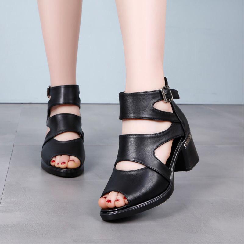 高跟鞋 一字跟鱼嘴鞋女2020夏季真皮镂空短靴高跟罗马凉鞋女粗跟中跟皮鞋_推荐淘宝好看的女高跟鞋