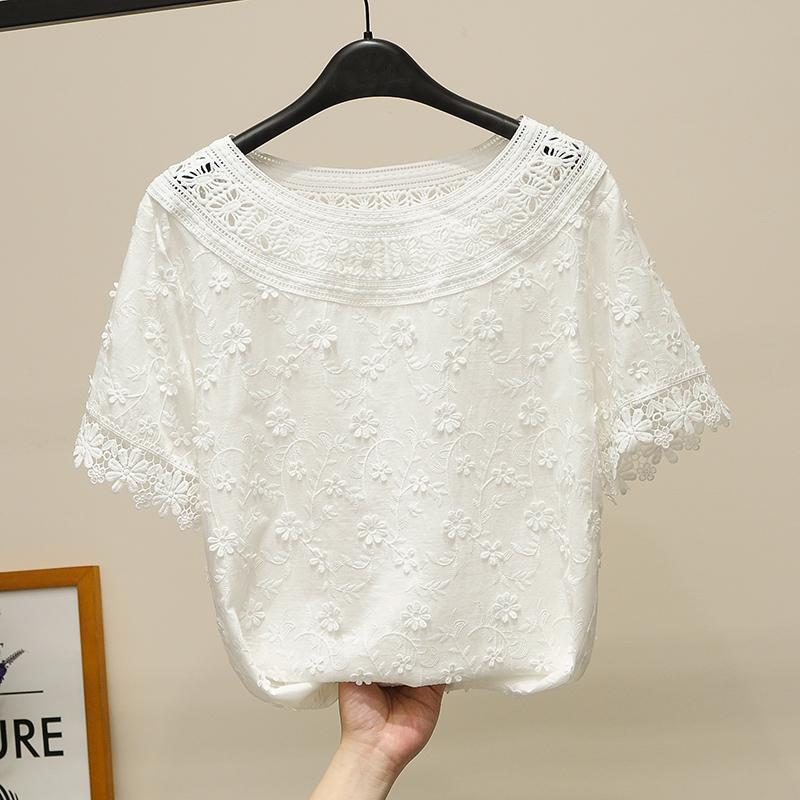 女士白色短袖衬衫 韩国白色蕾丝衫女短袖夏季清新淑女刺绣花朵纯棉衬衫镂空上衣小衫_推荐淘宝好看的女白色短袖衬衫