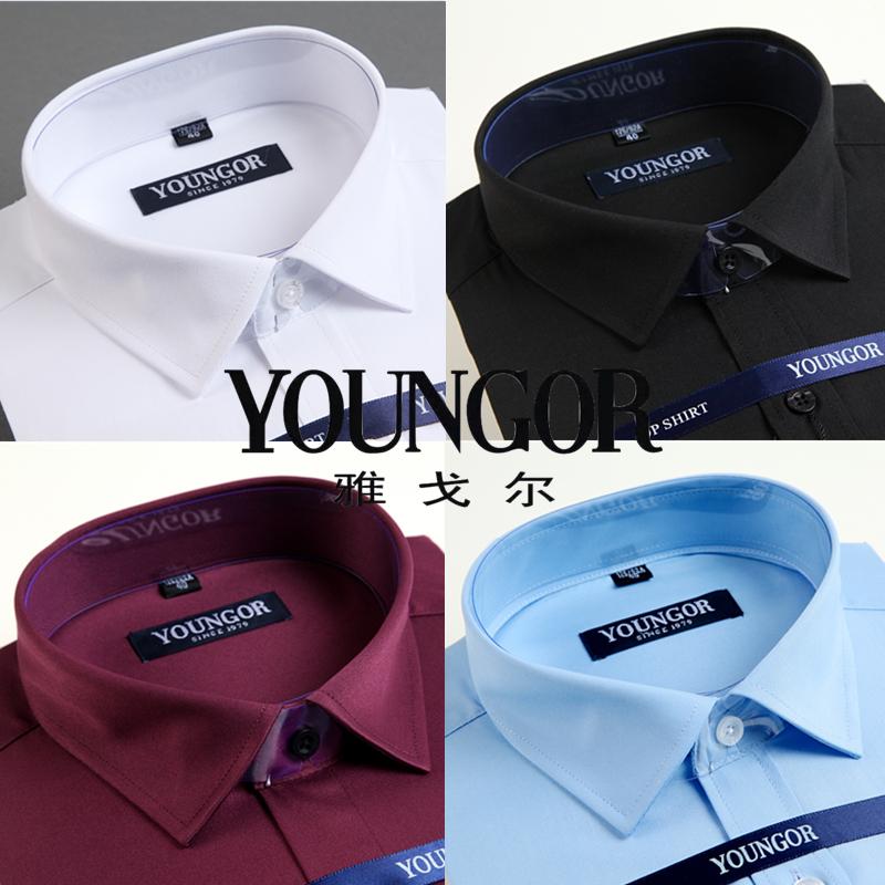 紫色衬衫 雅戈尔衬衫男士长袖正品免烫新款商务休闲大码宽松纯棉白色衬衣男_推荐淘宝好看的紫色衬衫