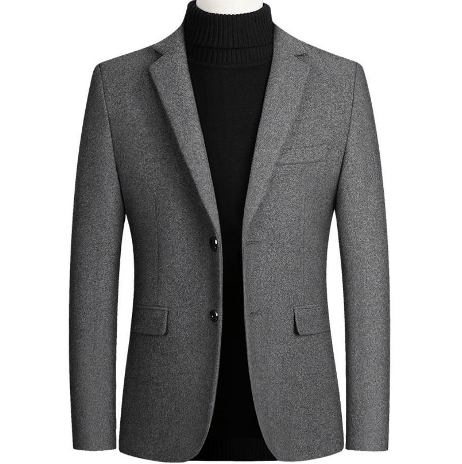 男士西装 2019男装秋冬季男士外套羊毛呢小西装商务休闲夹克外套单西服男_推荐淘宝好看的男西装