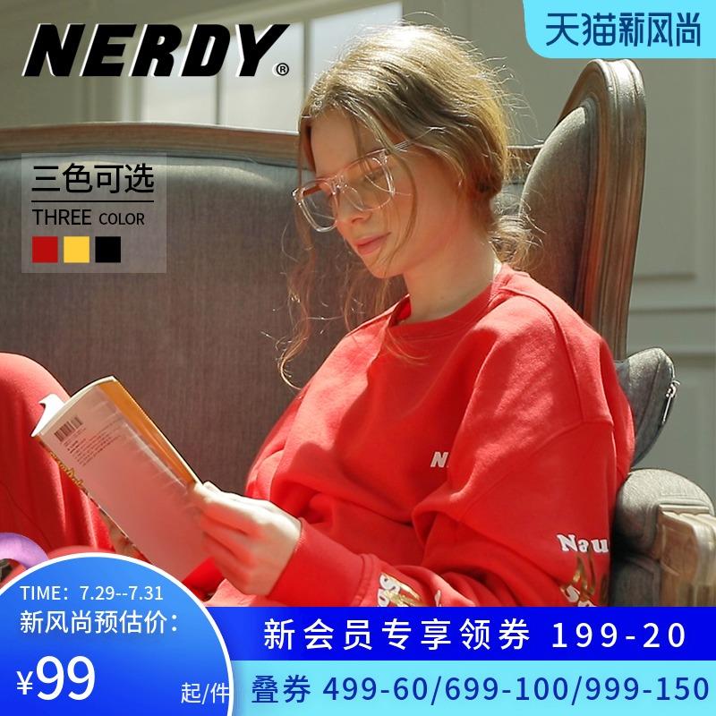 黄色卫衣 NERDY卫衣潮牌中国限定款圆领情侣黄色红色黑色套头宽松百搭上衣_推荐淘宝好看的黄色卫衣