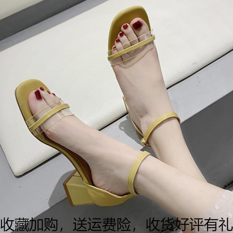 黄色罗马鞋 仙女凉鞋中跟2020夏季新款休闲百搭法式小高跟一字扣罗马鞋ins潮_推荐淘宝好看的黄色罗马鞋