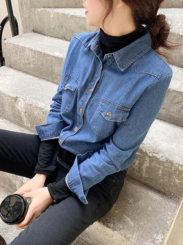 女装长袖衬衫 牛仔衬衫女设计感小众上衣2021春装新款韩版宽松长袖衬衣百搭外套_推荐淘宝好看的女长袖衬衫