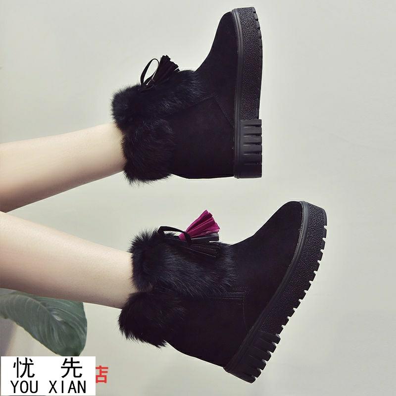 厚底流苏靴 棉靴女2020新款流苏短靴女冬季加绒保暖棉鞋学生女靴子厚底雪地靴_推荐淘宝好看的厚底流苏靴