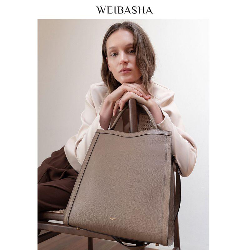 女式真皮手提包 微芭莎真皮大包包2020新款小众托特包大容量手提单肩包斜挎包女包_推荐淘宝好看的女真皮手提包