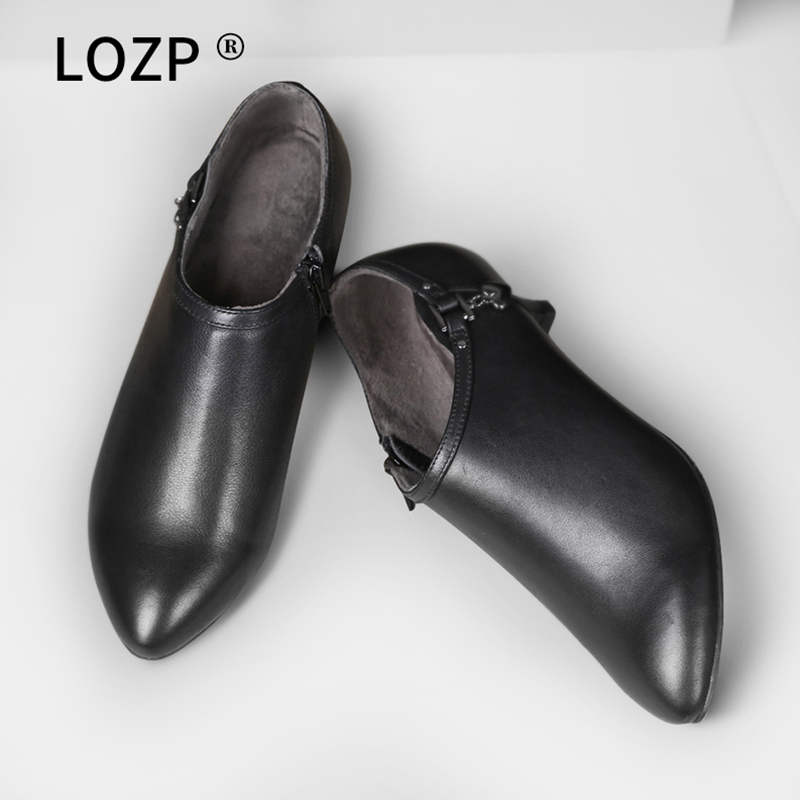 黑色高跟鞋 秋冬季真皮低跟深口单鞋女中跟上班工作鞋黑色高跟皮鞋及裸靴踝靴_推荐淘宝好看的黑色高跟鞋