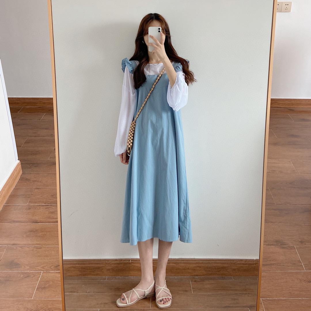 吊带 【张谦谦儿】风间裙 | 学院风甜美减龄蓝色背带裙木耳边吊带长裙_推荐淘宝好看的吊带