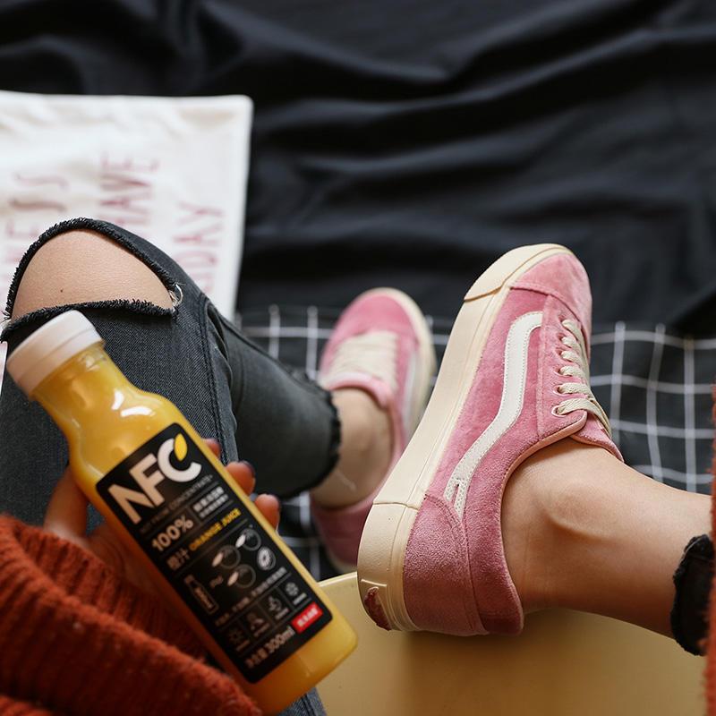 粉红色平底鞋 校园学生鞋子女单鞋平底粉红色帆布鞋女韩风平跟春季ins板鞋_推荐淘宝好看的粉红色平底鞋