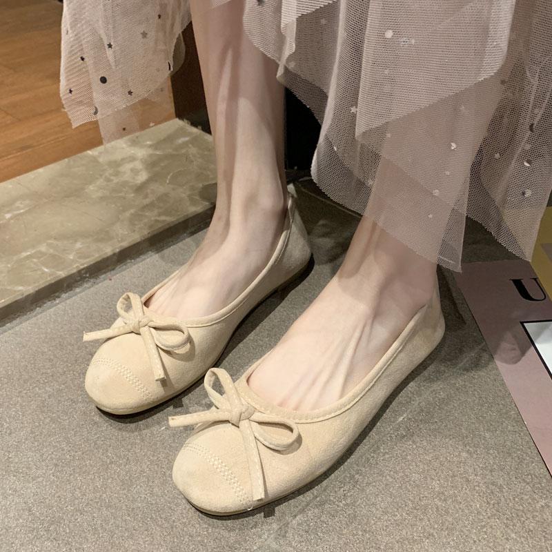 红色豆豆鞋 女鞋夏2021年新款豆豆鞋暗红色单鞋洋气平底百搭女瓢鞋仙女风浅口_推荐淘宝好看的红色豆豆鞋