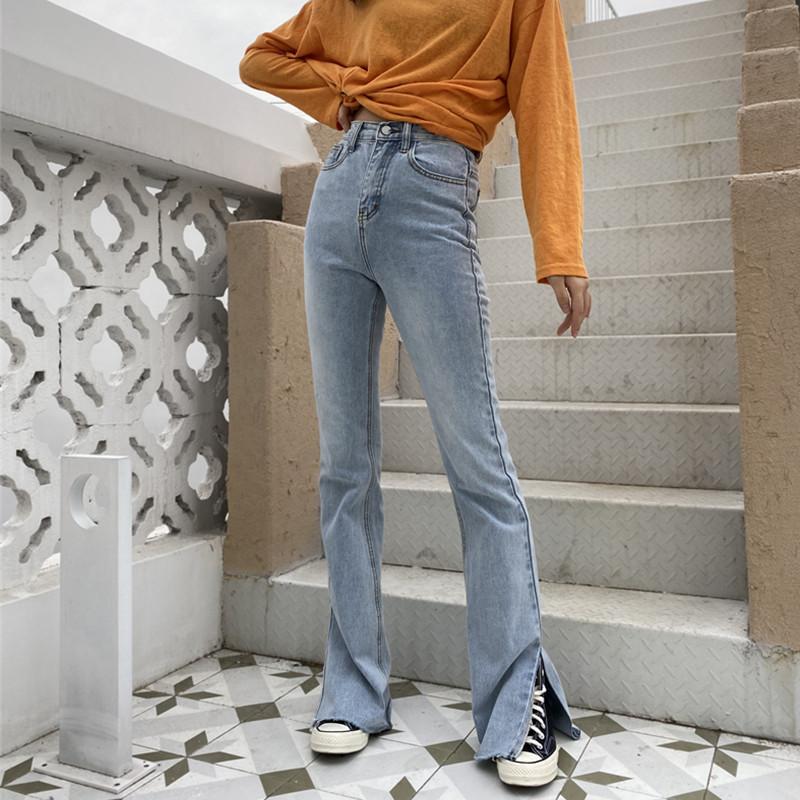 大码牛仔裤 petty Elsa175高个子加长微喇叭裤开叉女裤牛仔裤显瘦春高腰大码_推荐淘宝好看的女大码牛仔裤