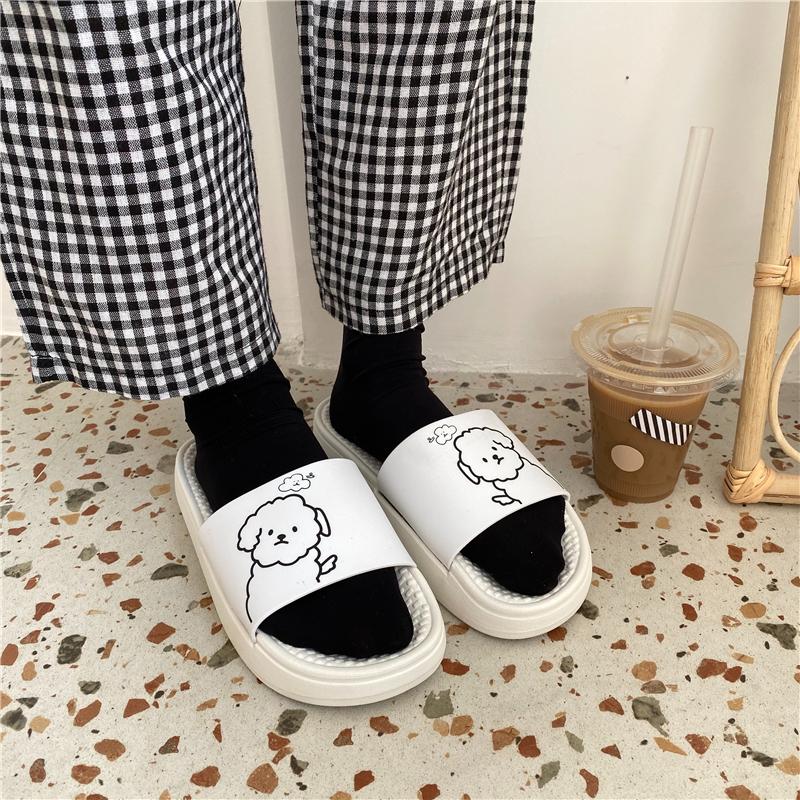 松糕鞋 韩版新款卡通可爱小狗拖鞋女室外松糕软底舒适百搭拖鞋夏季ins潮_推荐淘宝好看的女松糕鞋