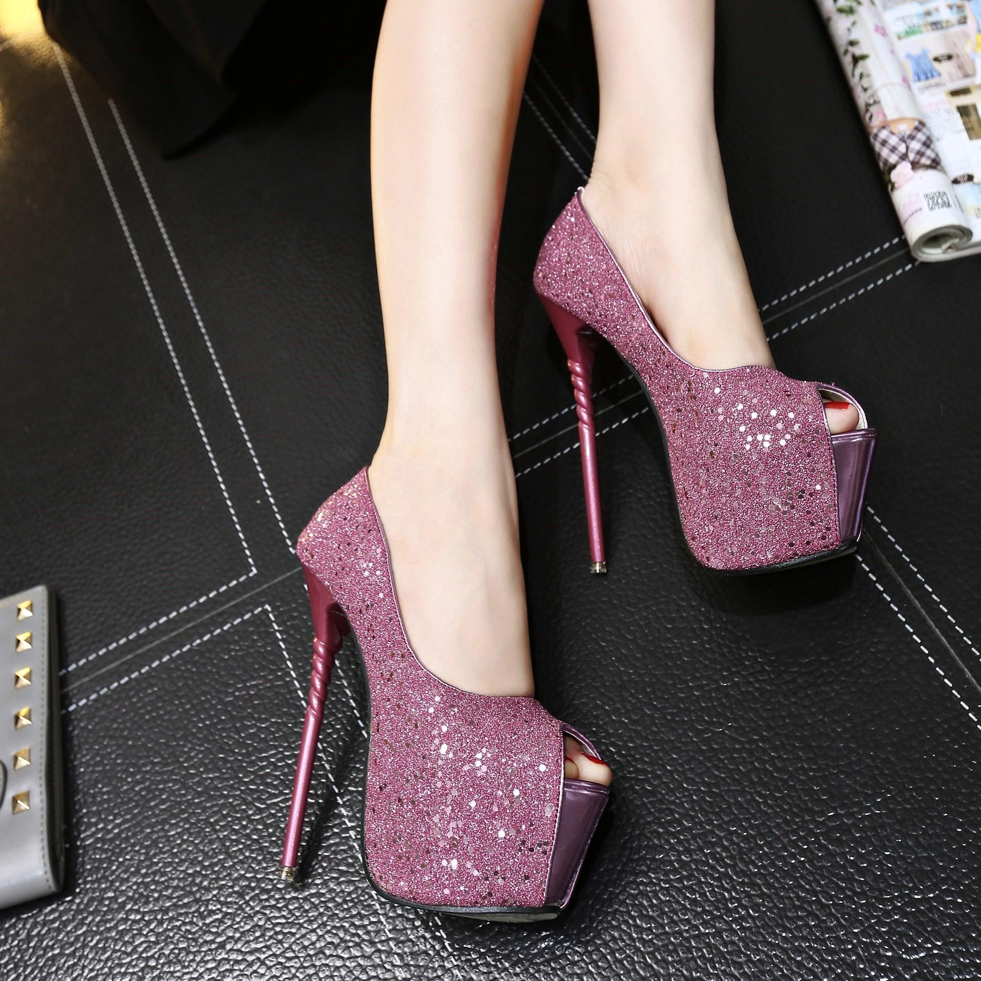 夜店性感高跟鞋 新上市17cm高跟鞋细跟性感夜店浅口粉色闪亮片18cm16cm20cm_推荐淘宝好看的夜店性感高跟鞋
