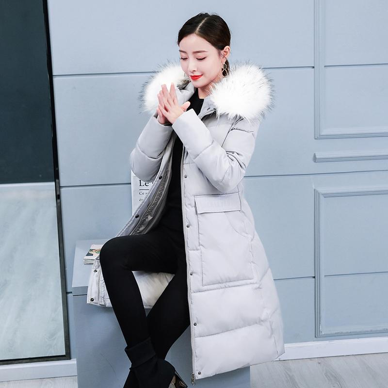 黑色外套 棉衣女2019新款冬季韩版修身羽绒棉服中长款棉袄加厚大毛领外套_推荐淘宝好看的黑色外套