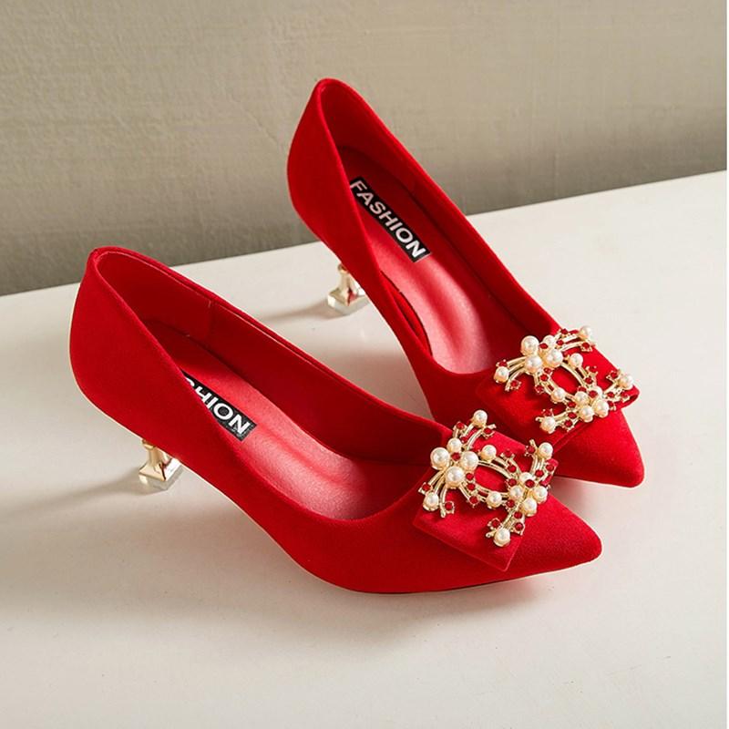 细高跟鞋 婚鞋女红色高跟鞋细跟2020新款性感床上蝴蝶结新娘水钻单鞋秀禾鞋_推荐淘宝好看的女细高跟鞋