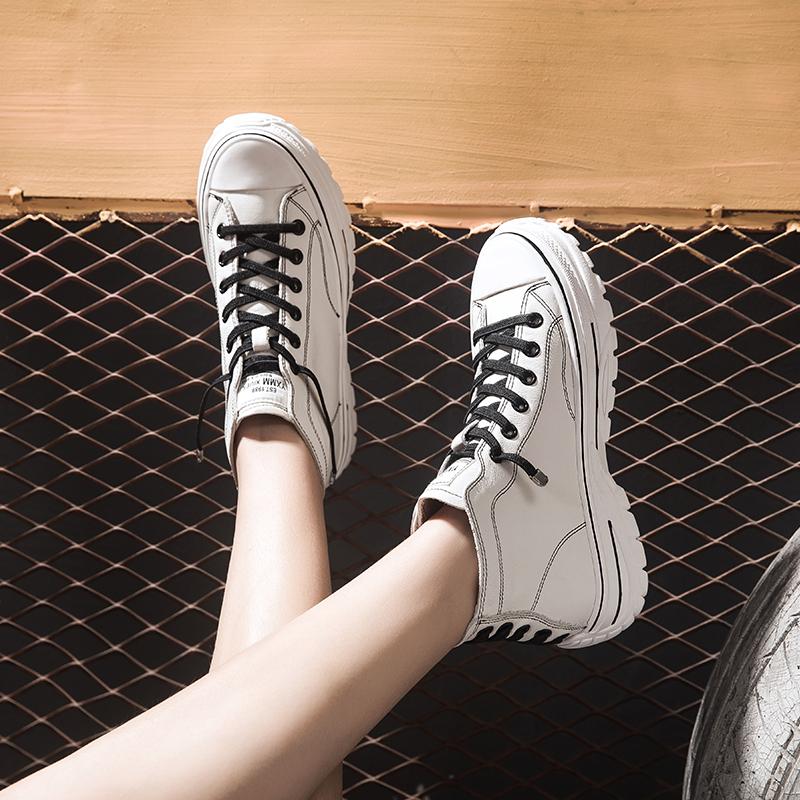 真皮平底鞋 ins潮女小白鞋新款百搭厚底平底休闲高帮鞋女真皮网红鞋秋款白鞋_推荐淘宝好看的女真皮平底鞋