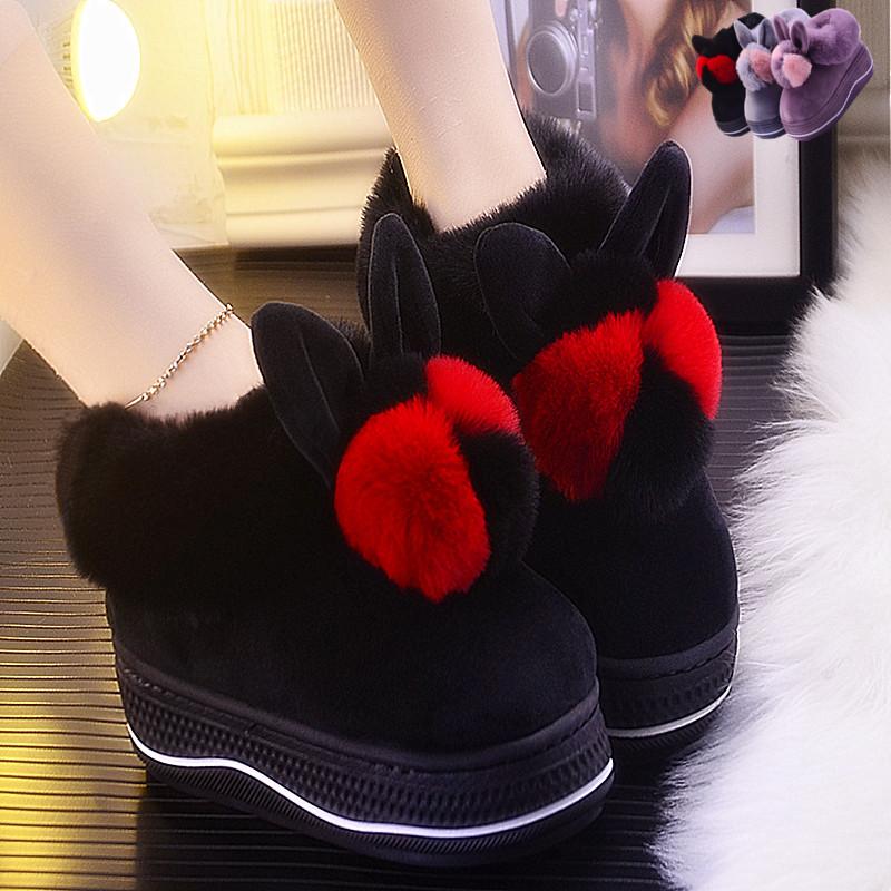 可爱厚底鞋 棉拖鞋女包跟冬季居家厚底可爱毛毛鞋时尚毛口毛拖防滑保暖月子鞋_推荐淘宝好看的女可爱厚底鞋