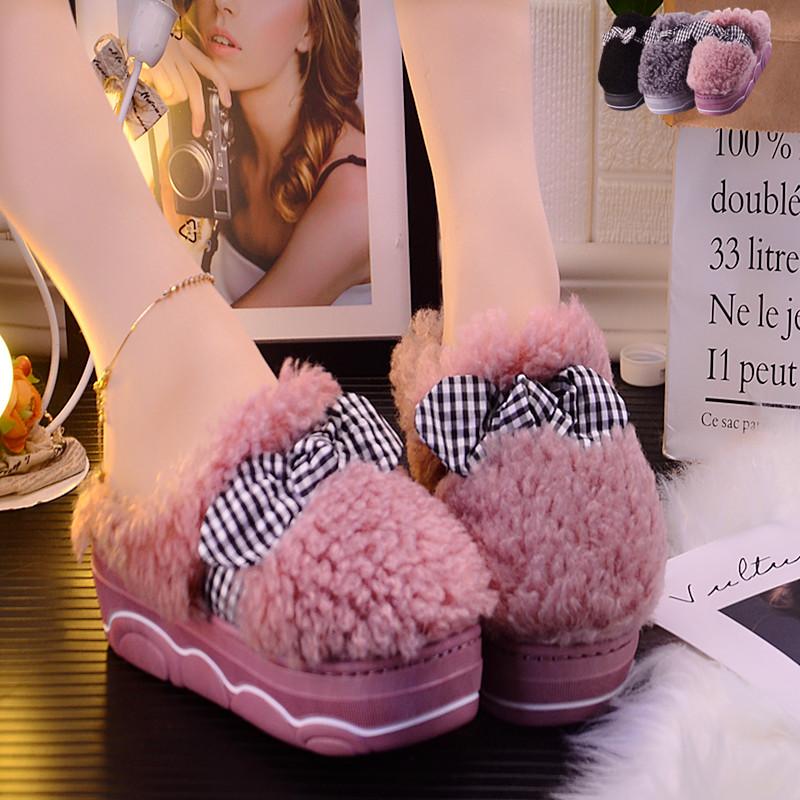 松糕鞋 厚底棉拖鞋女冬季高跟室外可爱韩版毛绒防水冬天内增高保暖松糕跟_推荐淘宝好看的女松糕鞋