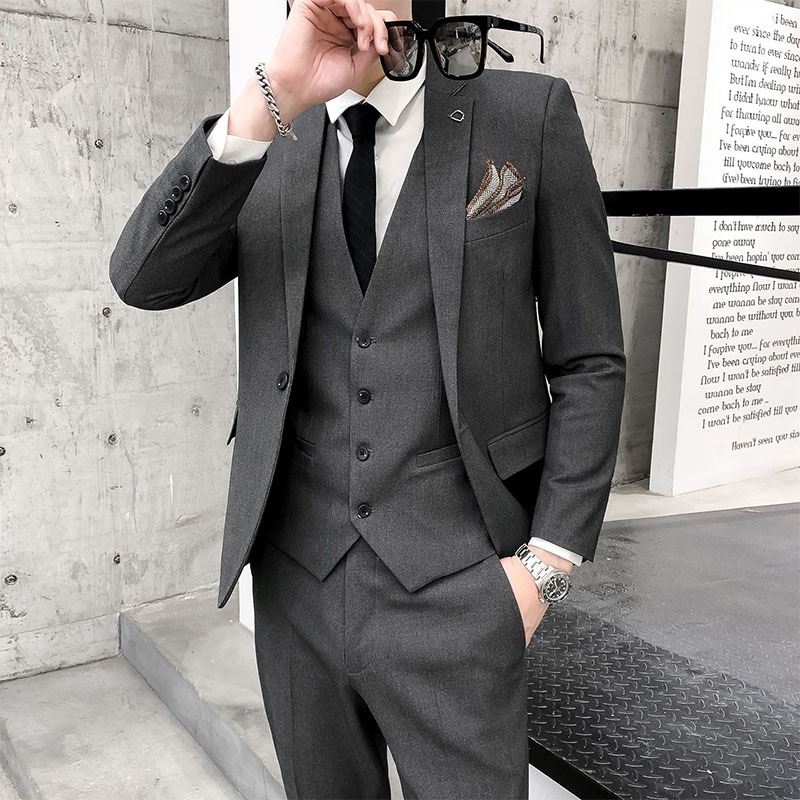男士结婚西装 男士西装修身韩版休闲 西服男套装 商务新郎伴郎结婚礼服学生西装_推荐淘宝好看的男结婚西装