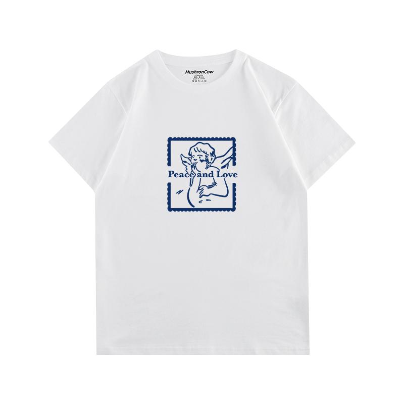 情侣装短袖t恤 MushronCow爱与和平纯棉设计感印花短袖原宿风上衣情侣T恤女_推荐淘宝好看的女情侣短袖t恤
