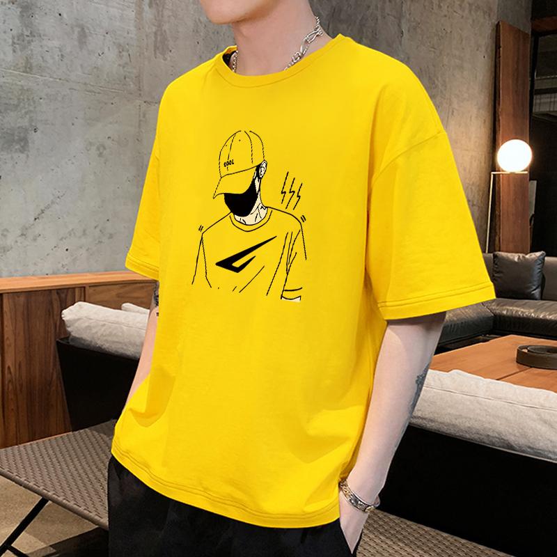 黄色T恤 百搭夏季港风潮牌黄色纯棉短袖t恤男装半袖上衣服男生青少年潮流_推荐淘宝好看的黄色T恤