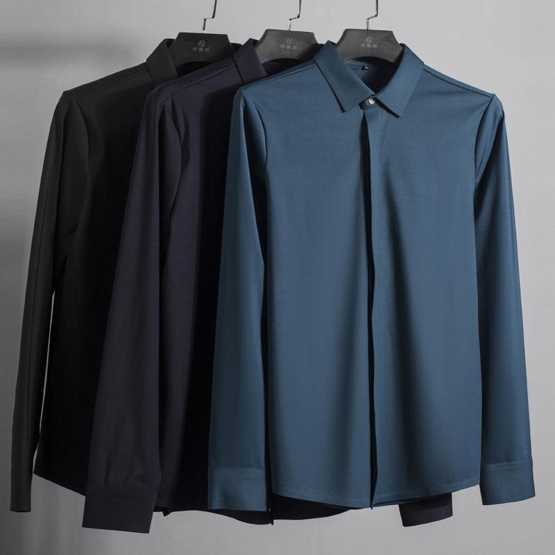 绿色衬衫 秋冬新品高端丝滑无痕压胶免烫男士衬衫商务休闲修身加厚长袖衬衣_推荐淘宝好看的绿色衬衫