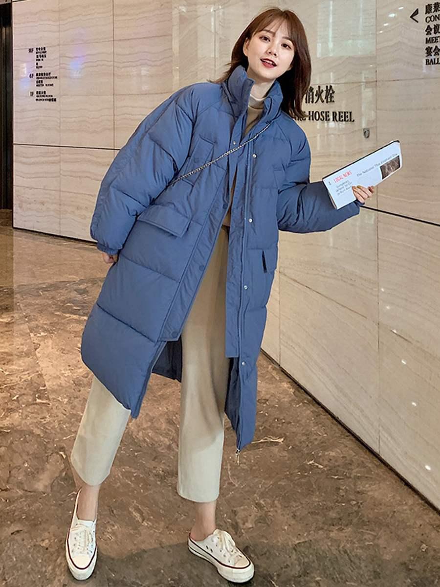 以纯羽绒服 官方正品休闲以纯色新款 羽绒棉服女中长款冬季2020韩版学生面包_推荐淘宝好看的以纯羽绒服女