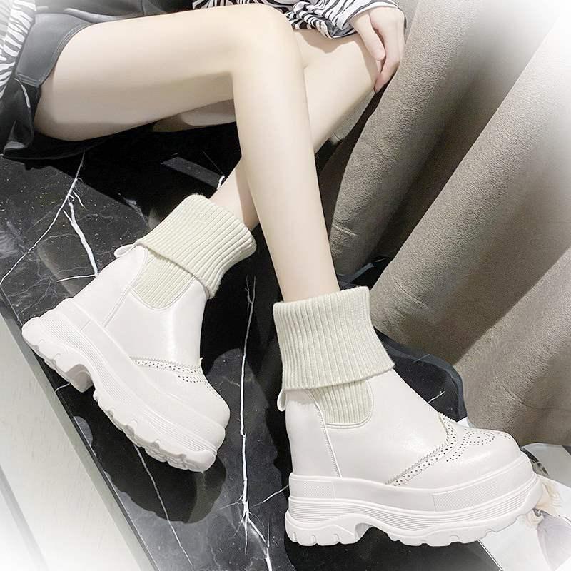 黄色松糕鞋 学生高帮运动鞋女内增高小白鞋短靴黄色8cm加绒保暖厚底松糕鞋潮_推荐淘宝好看的黄色松糕鞋