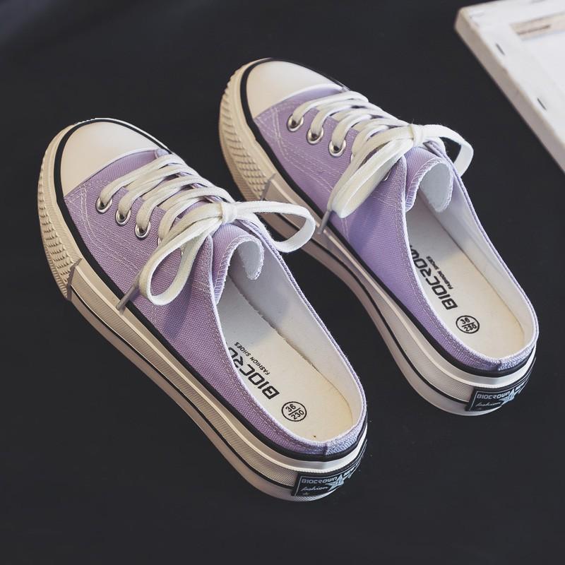 紫色厚底鞋 2020新款厚底增高半拖鞋香芋紫色帆布鞋女一脚蹬懒人鞋半托小白鞋_推荐淘宝好看的紫色厚底鞋