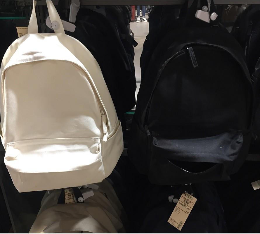 白色双肩包 2020款无印良品不易沾水棉书包厚帆布双肩包白色黑色带PC隔层背包_推荐淘宝好看的白色双肩包