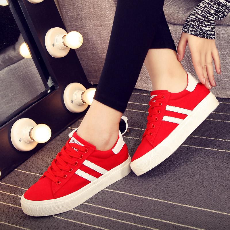 红色厚底鞋 环球帆布鞋女大红色低帮单鞋内增高厚底布女鞋休闲学生球鞋女布鞋_推荐淘宝好看的红色厚底鞋