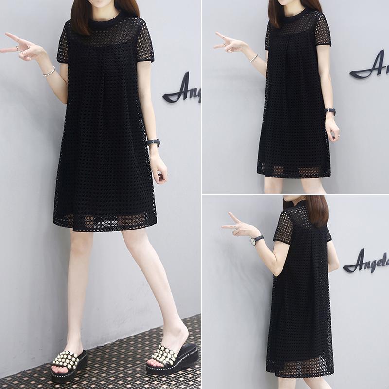 黑色蕾丝连衣裙 大码新款蕾丝设计女感小众显瘦时尚夏季小黑裙黑色2021连衣裙直筒_推荐淘宝好看的黑色蕾丝连衣裙