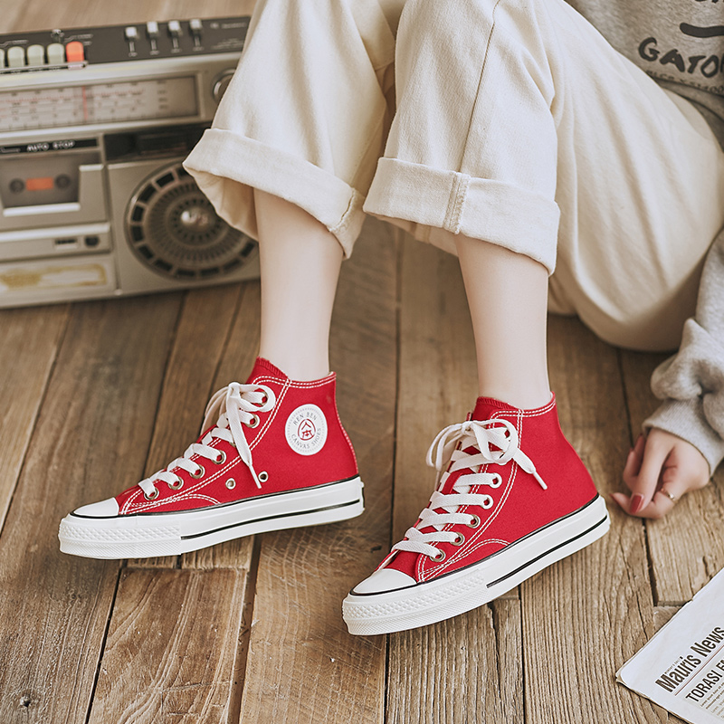 红色高帮鞋 人本高帮帆布鞋女ulzzang百搭潮鞋ins高腰大红色休闲鞋高邦球鞋子_推荐淘宝好看的红色高帮鞋
