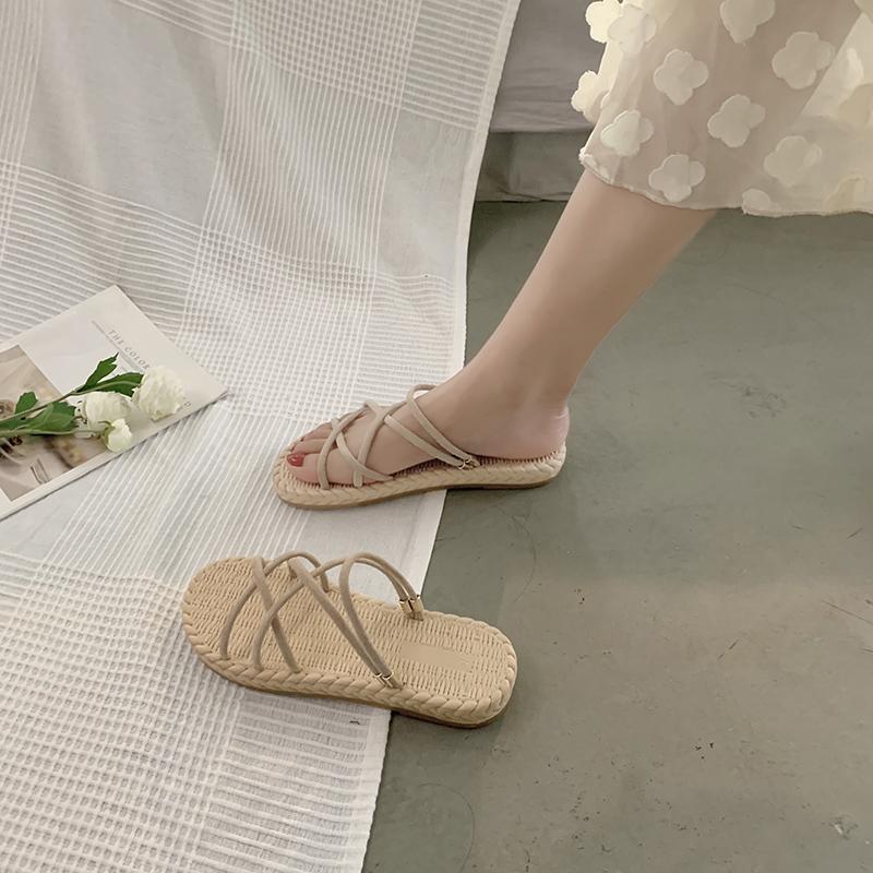 罗马女凉鞋 罗马凉鞋女仙女风ins潮2020夏季新款时尚百搭网红凉拖两穿平底鞋_推荐淘宝好看的女罗马凉鞋